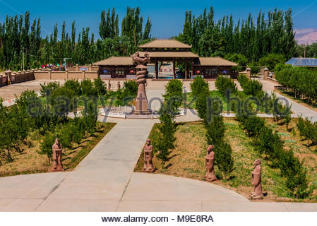 The Astana Cemetery is an ancient cemetery 37 kilometres (23 mi) southeast of Turpan, in Xinjiang, China, It served mainly as the cemetery for the des - Stock Photo