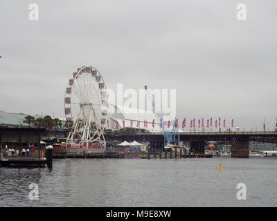 Ferris Wheel In Darling Harbour - Stock Photo