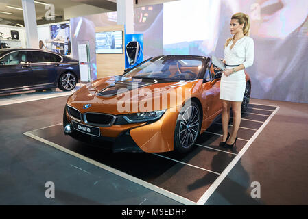Belgrade, Serbia - March 22, 2018: Plug-in hybrid electric sports car Bmw i8 exhibited on Belgrade car show - Stock Photo
