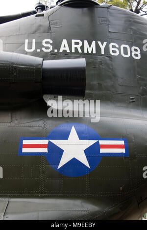 U.S.Army inscription on helicopter Boeing CH-47 Chinook. The symbol of the US Air Force. - Stock Photo