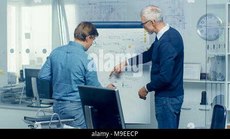In Architectural Engineering Office Two Senior Engineers Working with Drafts on a Whiteboard. Their Office Looks Minimalistic and Modern. - Stock Photo