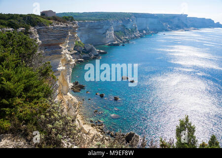 The chalkstone cliff at Bonifacio, Corsica, France, Mediterranean, Europe