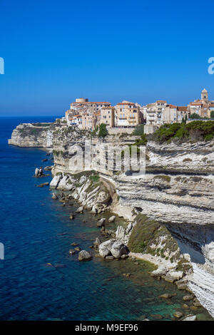 Citadel and upper town of Bonifacio, built on a chalkstone cliff, Corsica, France, Mediterranean, Europe - Stock Photo
