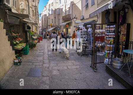 Souvenir shop and grocery at old town of Bonifacio, Corsica, France, Mediterranean, Europe - Stock Photo