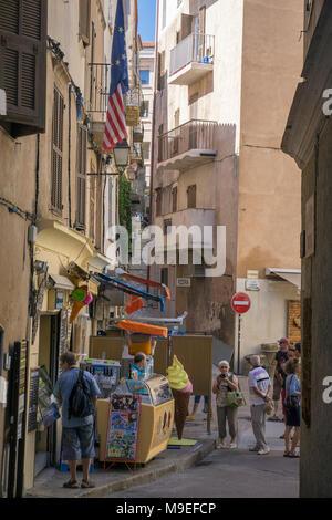 Shops at old town of Bonifacio, Corsica, France, Mediterranean, Europe - Stock Photo