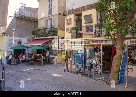 Souvenir shop and bar at old town of Bonifacio, Corsica, France, Mediterranean, Europe - Stock Photo