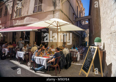 Idyllic restaurant at old town of Bonifacio, Corsica, France, Mediterranean, Europe