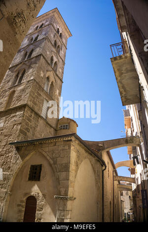 Eglise Sainte Marie Majeure, church at old town of Bonifacio, Corsica, France, Mediterranean, Europe - Stock Photo
