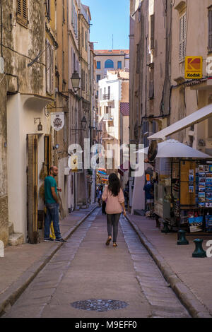 Shops at old town of Bonifacio, Corsica, France, Mediterranean, Europe - Stock Photo