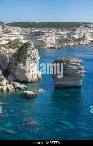 Limestone spires at chalkstone cliff, Bonifacio, Corsica, France, Mediterranean, Europe - Stock Photo