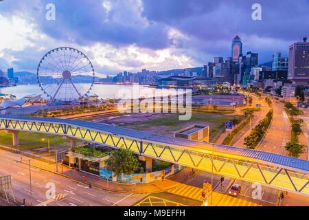 hong kong city at morning time - Stock Photo