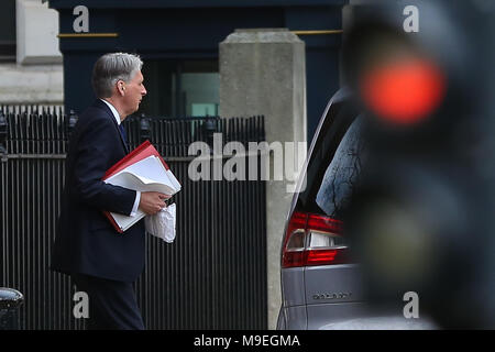 "British Minister Theresa May and the Chancellor Philip Hammond leaves from the back entrance of No 10 Downing Street for Chequers, where leading cabinet ministers are due to meet for ""crunch"" meeting on Brexit.  Featuring: Chancellor Philip Hammond Where: London, United Kingdom When: 22 Feb 2018 Credit: WENN - Stock Photo"