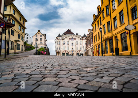 Aksla at the city of Alesund , Norway. It is a sea port, and is noted for its concentration of Art Nouveau architecture. - Stock Photo