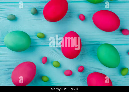 Wooden Background With Easter Symbols Eggs Butterflies Flowers