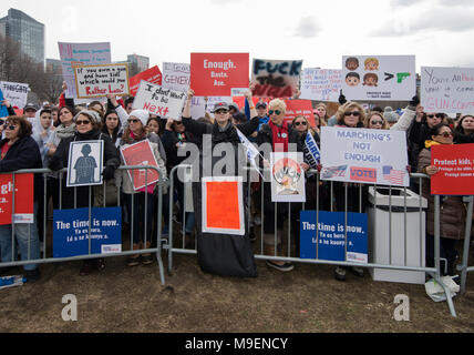 March For Our Lives, Boston, Massachusetts, USA 3-24-2018:  An estimated crowd of over 100,000 People gathered on the Boston Common during the March For Our Lives anti-gun demonstration. March For Our Lives demonstrations took place in most major U.S. cites and around the world on March 24th 2018. March For Our Lives demonstrations were a reaction to the school shooting at Marjory Stoneman Douglas High School on Valentine's Day of 2018 in Parkland Florida, USA.  The shooting in Florida left 17 high school students dead. Credit: JBCN / Alamy Live News - Stock Photo