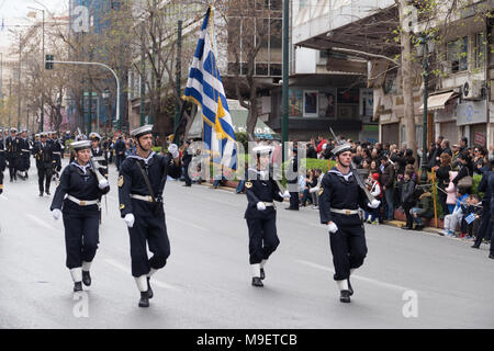 Athens, Greece. 25th March 2018. Parade of military and other on the occasion of the celebration of the Greek Independence day in central Athens. Credit: Rainboweyes/Alamy Live News - Stock Photo