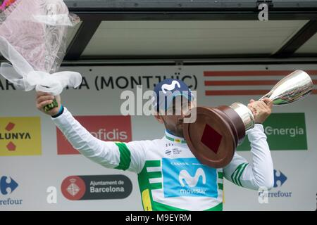 Barcelona, Spain. 25th Mar, 2018. Spanish cyclist Alejandro Valverde of Movistar celebrates on the podium after winning the Volta a Catalunya cycling race, in Barcelona, Spain, 25 March 2018. Credit: Quique García/EFE/Alamy Live News - Stock Photo