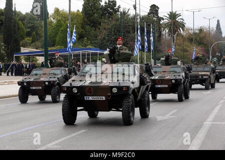 Athens, Greece. 25th Mar, 2018. Greek army tanks drive past the Greek Parliament during a military parade marking the Greek Independence Day in Athens, Greece, on March 25, 2018. Greece celebrated on Sunday the 197th anniversary of the start of war of independence from the 400-year rule of the Ottoman Empire on March 25, 1821 with a customary military parade in the center of Athens. Credit: Marios Lolos/Xinhua/Alamy Live News - Stock Photo