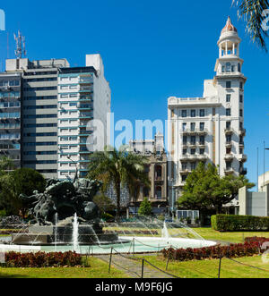 Plaza Juan Pedro Fabini with historic memorial to heroes and fountain in center of Montevideo. Uruguay, South America - Stock Photo