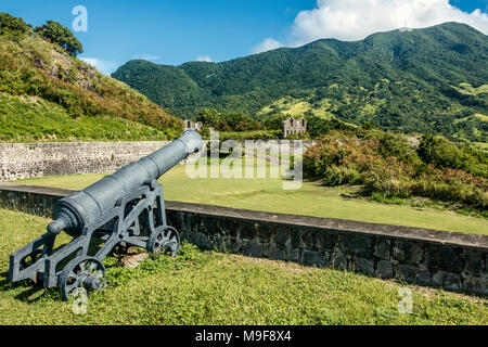 Old British Fortress At Brimstone Hill St. Kitts West Indies - Stock Photo