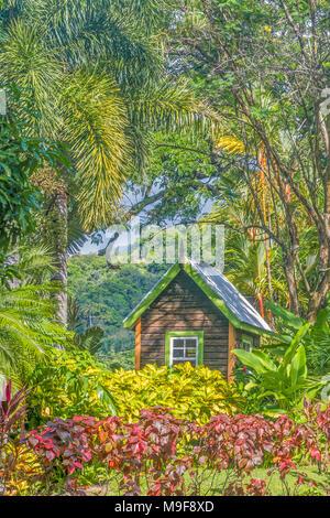 Hut In The Garden Romney Manor ST. Kitts West Indies   Stock Photo
