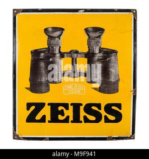 Rare 1930s German pre-war large enamel shop sign advertising Carl Zeiss Jena binoculars (81 x 75cm) - Stock Photo