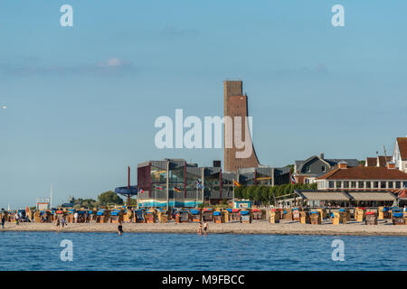 Samall seaside resort of Laboe on the Kiel Fjord with its marine memorial tower, Baltic Sea, Schleswig-Holstein, Germany - Stock Photo