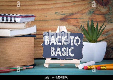 back to basic. small wooden board with chalk - Stock Photo