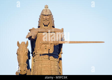VILNIUS, LITHUANIA-MARCH 24, 2018: Monument to Grand Duke Gediminas by Vytautas Kašuba and Mindaugas Snipas on the clear sky background - Stock Photo