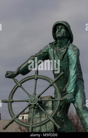 The Fisherman's Memorial statue in Gloucester, Massachusetts, USA. - Stock Photo