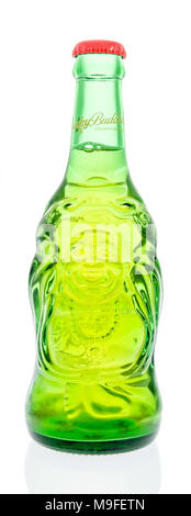 Winneconne, WI - 17 March 2018: A single bottle of Lucky Buddha beer on an isolated background. - Stock Photo