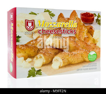 Winneconne, WI - 21 March 2018: A box of Coles Mozzarella cheesesticks on an isolated background. - Stock Photo