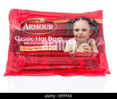 Winneconne, WI - 21 March 2018: A package of Armour classic hot dogs on an isolated background. - Stock Photo