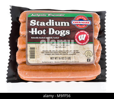 Winneconne, WI - 21 March 2018: A package of Cher-make stadium hot dogs on an isolated background. - Stock Photo