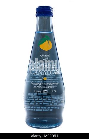 Winneconne, WI - 21 March 2018: A bottle of Clearly Canadian sparkling water on an isolated background. - Stock Photo