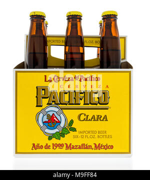 Winneconne, WI - 21 March 2018: A six pack of Pacifico beer from Mexico on an isolated background. - Stock Photo