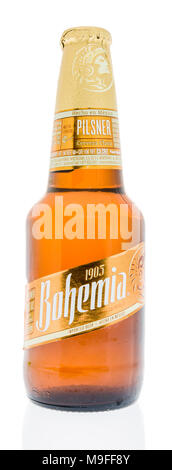 Winneconne, WI - 21 March 2018: A bottle of Bohemia beer from Mexico on an isolated background. - Stock Photo
