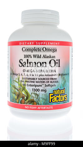 Winneconne, WI - 21 March 2018: A bottle of Complete Omega salmon oil on an isolated background. - Stock Photo