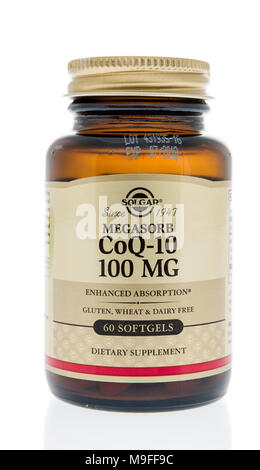 Winneconne, WI - 21 March 2018: A bottle of Solgar Coq-10 softgels on an isolated background. - Stock Photo
