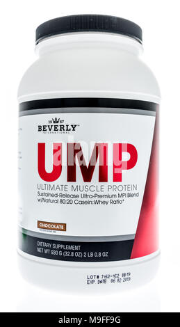 Winneconne, WI - 21 March 2018: A container of Beverly UMP protein powder on an isolated background. - Stock Photo