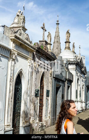 Buenos Aires Argentina Cementerio de la Recoleta Cemetery historic tombs statues mausoleums marble woman Hispanic Argentinean Argentinian Argentine So - Stock Photo