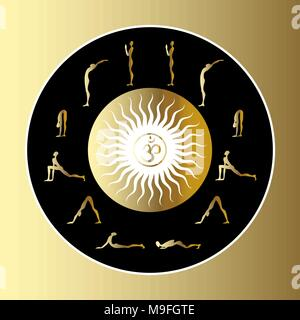 surya namaskar set salutation the sun stock vector art