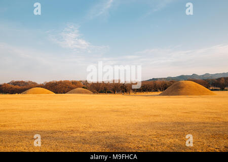 Inwang-dong tomb complex, ancient ruins in Gyeongju, Korea - Stock Photo