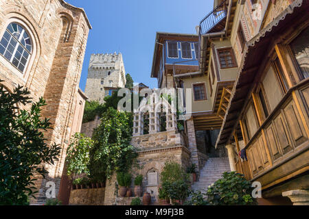 The inner courtyard at Docheiariou monastery looking up to the main tower, on the Athos peninsula, Macedonia, Northern Greece - Stock Photo