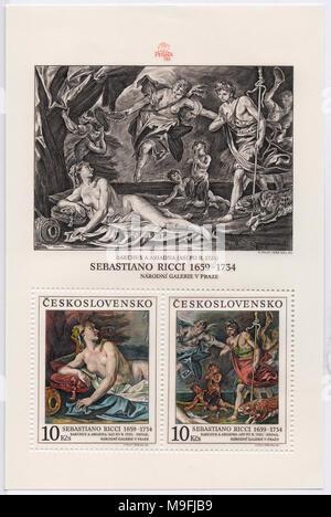 Bacchus and Ariadne by Sebastian Ricci on stamp sheet. Printed in Prague, Czechoslovakia (now Czech Republic) in 1988. Art circa 1725. - Stock Photo