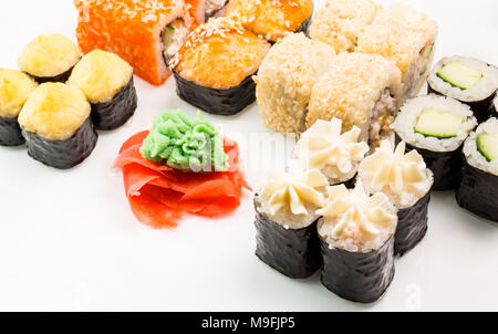 Japanese seafood sushi , roll on a white background - Stock Photo