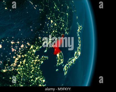 Night map of north korea as seen from space on planet earth 3d elements of this image illustration of north korea as seen from earths orbit at night 3d illustration elements gumiabroncs Choice Image