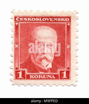 Tomas Garrigue Masaryk, first Czechoslovak president (1918-1935) on postage stamp, printed in Prague, Czechoslovakia (now Czech Republic) in circa1930 - Stock Photo