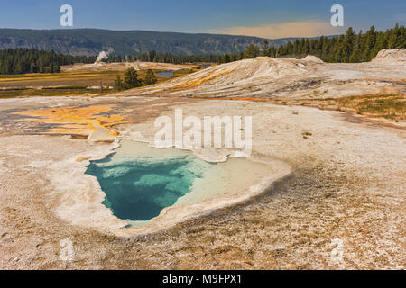 Celestine Pool Hot Springs on the Fountain Paint Pot Nature Trail Yellowstone National Park Wyoming United States - Stock Photo