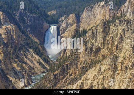 Lower Yellowstone Falls in the Grand Canyon of the Yellowstone from Artist Point Yellowstone National Park Wyoming USA - Stock Photo